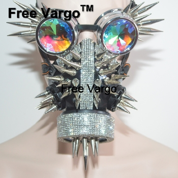 Holographic Rhinestone Halloween Rave Streampunk Burning Man Mask Rivet Goggles Costumes Cosplay Festival Clothes Outfit Gear