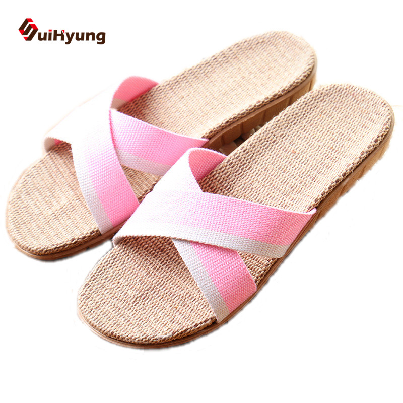 Suihyung Summer New Women Slippers Breathable Linen Mixed Color Home Slippers Non-slip Indoor Slippers Female Beach Slippers coolsa women s summer striped linen slippers breathable indoor non slip flax slippers women s slippers beach flip flops slides