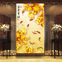 window film Frosted glass film window grilles paper sticker opaque bathroom toilet cellophane peony golden carp