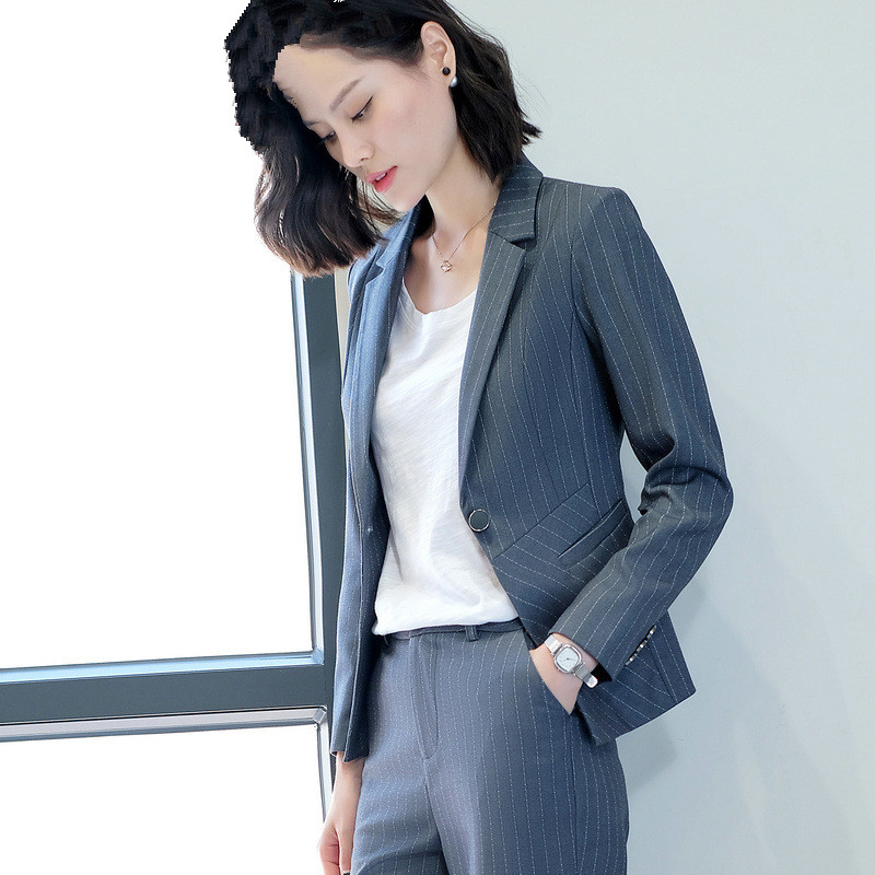 Spring Autumn Blazer Feminino Single Button Women Suit Jacket Long Sleeve Women Blazers Gray Black Casual Small Suits For Women ...
