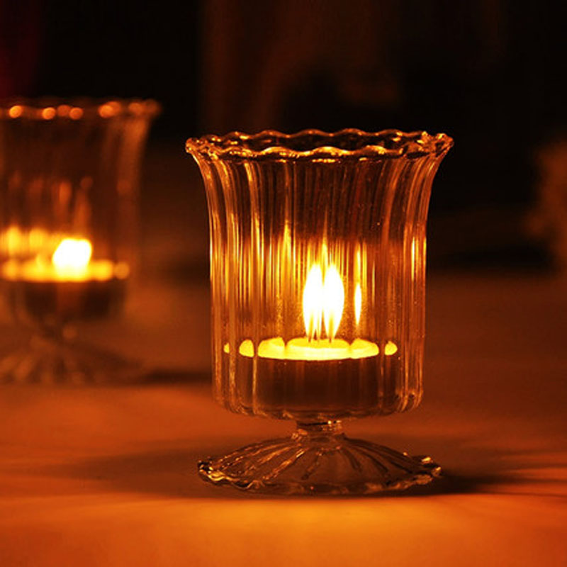 Simple striped transparent glass candle holder home decoration tea simple striped transparent glass candle holder home decoration tea light candle holder bar accessories romantic dinner in candle holders from home garden mozeypictures Image collections