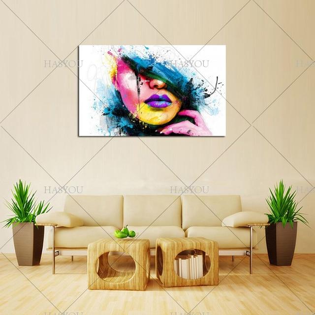 100% Handgemalte Sexy Frauen Gesicht Mode Moderne Leinwand Malerei Wandbild  Abstrakte Zahlen Ölgemälde Für Wohnzimmer