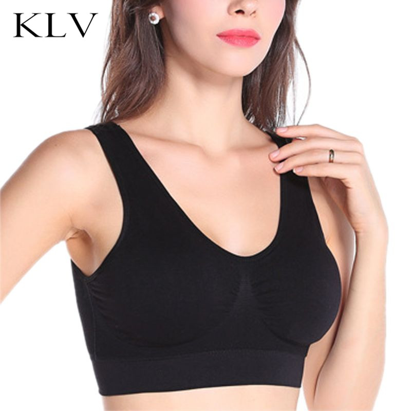 Women Plus Size Sport Yoga Wireless Crop Top Padded Solid Bralette Jacquard Ruched V-Neck Seamless Maternity Sleep Bra Underwear