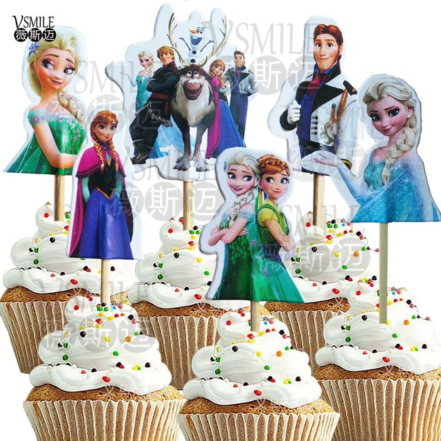 72pcs Ice Princess Spiderman Winne The Pooh Tiggers Theme Party Supplies Cupcake Topper Kid Birthday Wedding