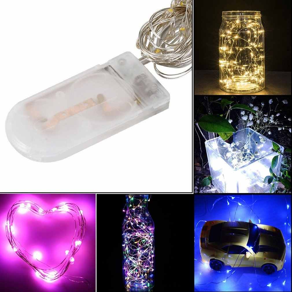 Led Fairy lights Button Copper Wire Christmas Day Decorative Lantern Led Remote Control Battery Box Lamp