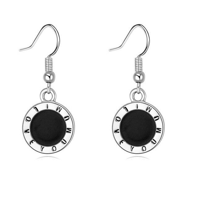 Elegant Black Charm Earrings For Women I Love You Mum Desing Round Drop Dangle