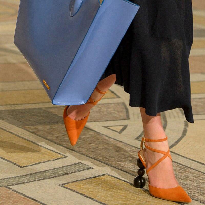 Dedo Verano Sandalias Negro Cordón Pista Puntiagudo Extraño Alto naranja Bombas Mujer Moda Mujeres Del Tacón De Zapatos Estilo Sexy Pie 07aOUnWY