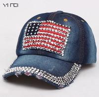 2017 Cowboy Hip-Hop Baseball Cap Full Diamond Flat Snapback Unisex Girls American Flag Pattern Baseball Caps Adjustable