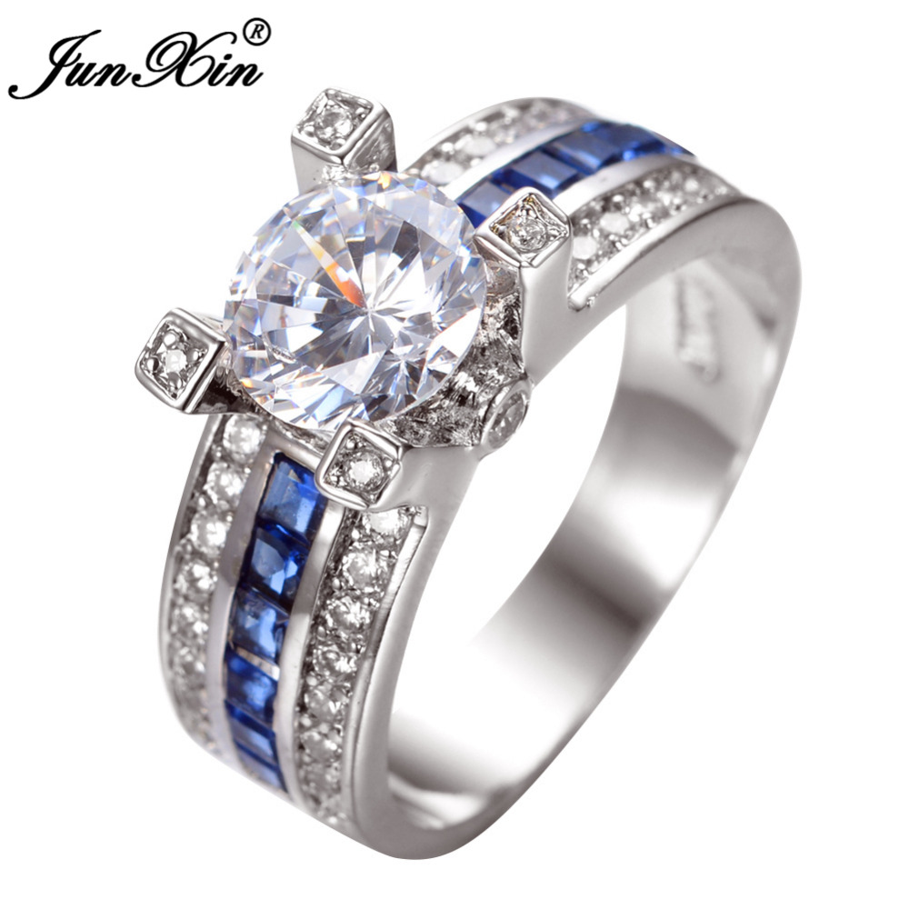 Unique Engagement Rings For Women: JUNXIN Unique Jewelry Blue Round Zircon Stone Ring White