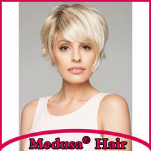 Medusa hair products: Assymetrical pixie cut styles Synthetic pastel wigs Short Mix color wig with bangs Peruca loira SW0283A