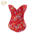 Red Small Flowers Denim Corset
