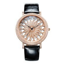 MATISSE Fashion Snowflake Full Crystal Dial Case Leather Strap Women Fashion Quartz Watch Rose Gold