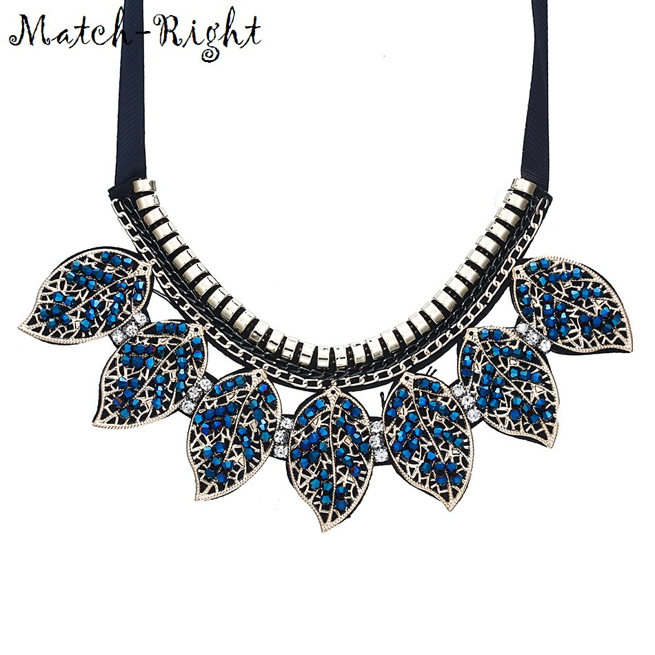 Match-Right Blue Crystal Leaves Statement Necklace Women Collar Necklaces & Pendants Summer Style Jewelry Colar Wedding