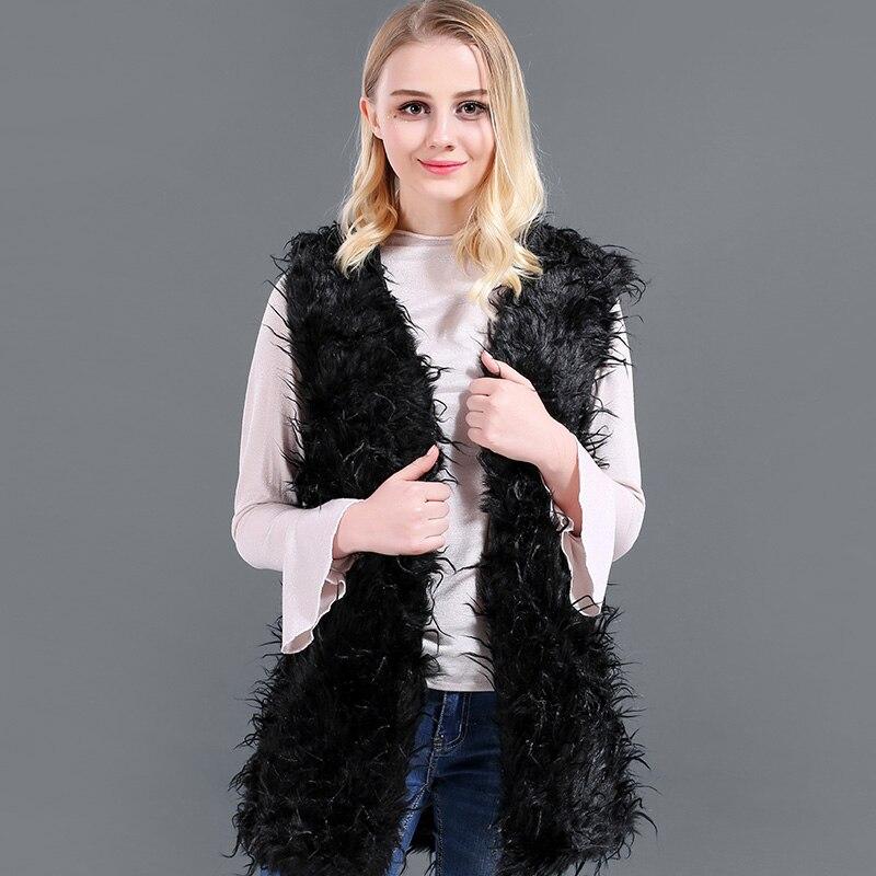 6b4a00ea56c0 2018 Black Long Curl Women Faux Fur Vest Coat Winter Autumn Sleeveless  luster Fur Vest Coat For Female Slim Soft Warm Casual