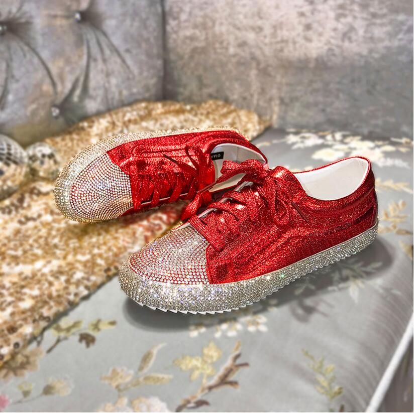 New 2019 Fashion Casual Shoes Expensive Diamond Women Sneaker Lace-up Flat Shoes Zapatillas Mujer Women Flats Shoes WomanNew 2019 Fashion Casual Shoes Expensive Diamond Women Sneaker Lace-up Flat Shoes Zapatillas Mujer Women Flats Shoes Woman