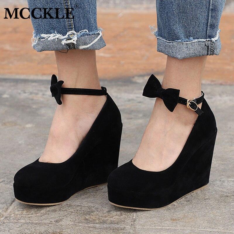 MCCKLE Women High Heels Elegant Wedges Wedding Dress Pumps Female Flock Platform Buckle Ankle Strap Bowtie