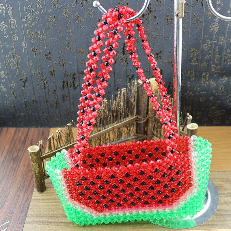 Sac de perles fait main femme sac de perles Bolsa Feminina sac à main sac de soirée rétro chemise poignée perle motif pastèque rouge sac à main - 2