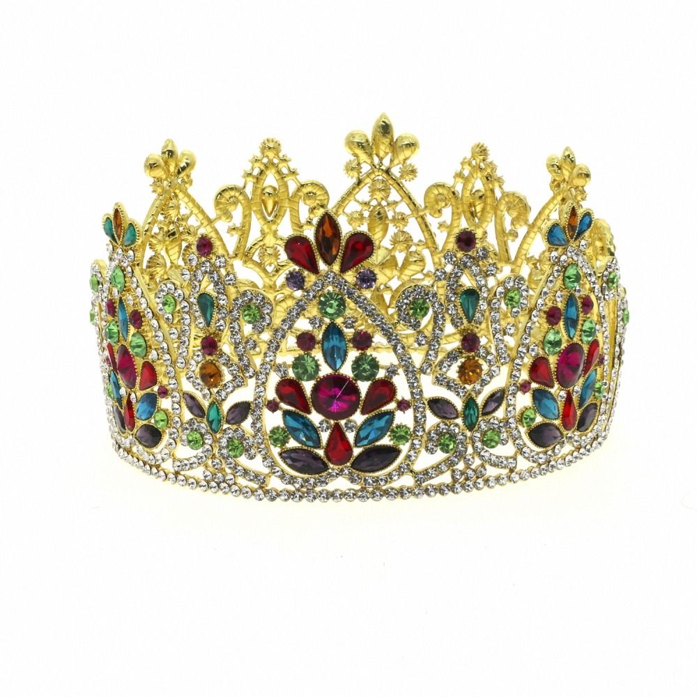 Large Queen King Pageant Crown for Wedding Tiaras and Crowns Big Hair band Crystal Rhinestone Prom Party Headdress Hair Jewelry queen and king style party cosplay headwears golden 2 pcs