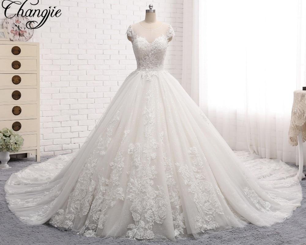 Robe De Mariage New Elegant Long Wedding Dress 2017 V Neck