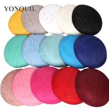 15 CM חיקוי sinamay fascinator בסיס מסיבת כובעי DIY שיער אביזרי כובעי קוקטייל כלה כובעי חתונה כובעי 16 צבעים
