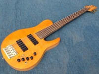 Free Shipping High End FLamed Maple Top Ash Body yellow 5string gold Hardware Bass Guitar Guitarra All Color Available