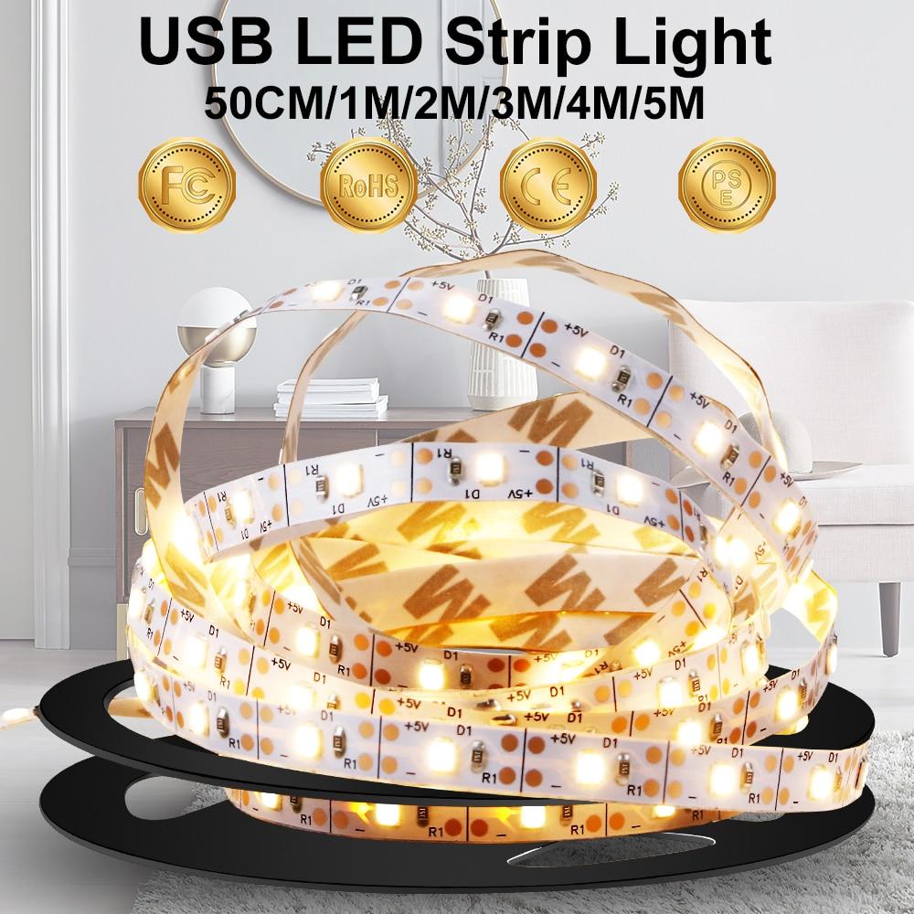 DC 5V USB LED Strip Lamp 2835 Led Backlight TV Flexible Light Tape Neon Ribbon 50CM 1M 2M 3M 4M 5M Fita Ledstrip Decor Lighting(China)