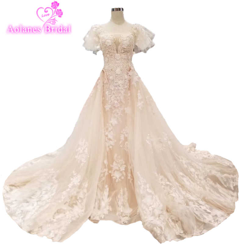 132891b415028 2019 Champagne Pink Lace Long Sleeves Mermaid Wedding Dress With Detachable  Train 3d Flowers Appliques Overskirt Bridal Gowns