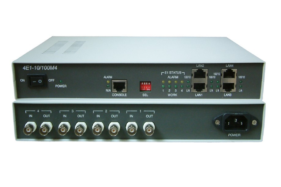 LAN bridge on existing e1 based networking 4e1 to 4 port ethernet protocol converter