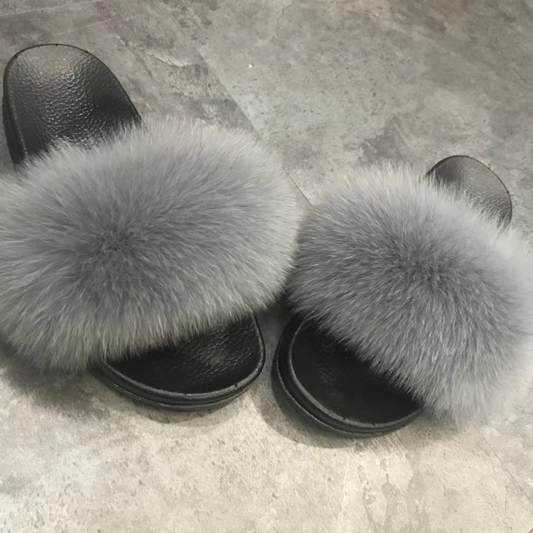 Women's Gloves Real Fox Fur Slippers Women Home Fluffy Sliders Comfort Furry Summer Flats Sweet Ladies Shoes Female Furry Indoor Flip Flops