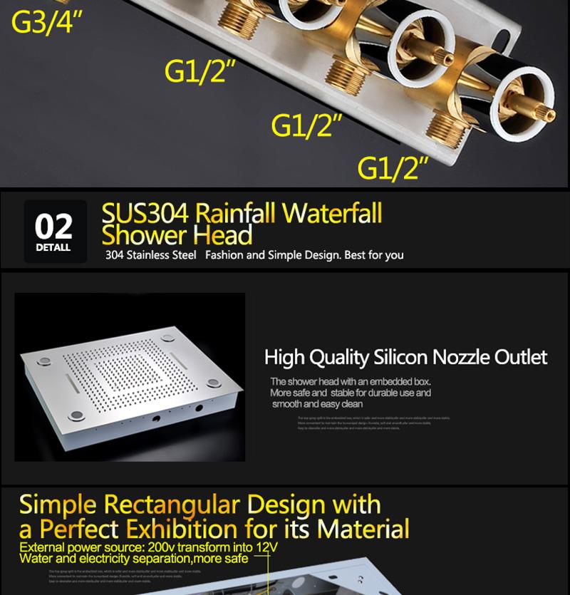 Luxurious LED Shower System Ceiling Mount Rain Head Set 31 Luxury Big Rain Shower Head Dual Rain and Waterfall Shower Sets (21)