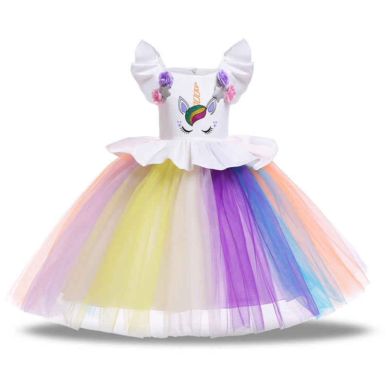 Girls Dress Unicorn Party Girls Princess Dress  cosplay Carnival Costume kids Dresses For Holiday party Easter girls Clothing