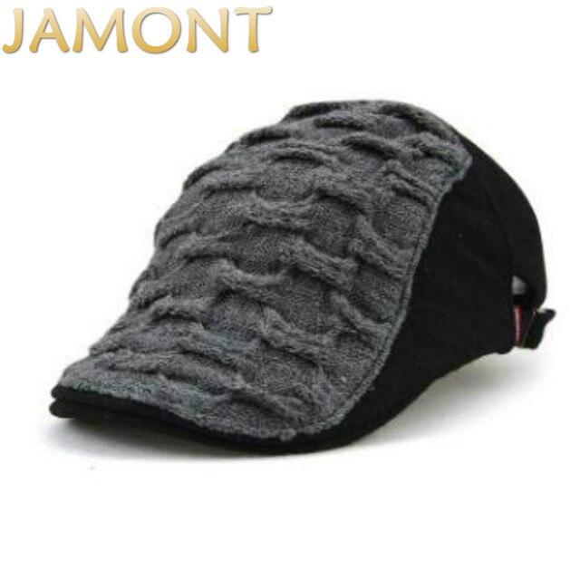 Sombrero de boina de punto de invierno cálido estilo inglés Informal JAMONT  gorra plana Lisa viejos 6bf9d54135d