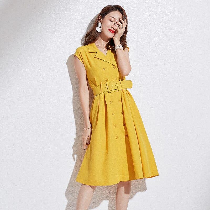 yellow Solide Avec Casual Ceinture ligne Robe D'été Bureau Finewords Slim Coréenne Manches Élégant A Sans Femmes Red Bussiness Vintage IY7bgyvf6