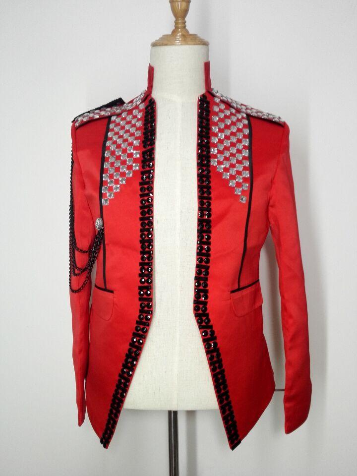 rote dünne männliche Kostümjackeblazer-Manteldiamantsteinstufe - Herrenbekleidung - Foto 3