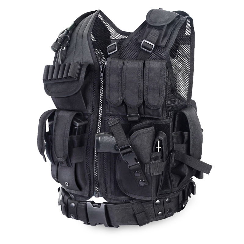 POLICE Outdoor Caom Body Armor Swat Combat Wargame Black Vest Men's Black Military Tactical Army Molle Hunting Vest police pl 12921jsb 02m