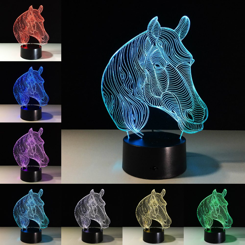 All Horses LED Night Lights USB Novelty Gifts 7 Colors Changing Animal 3D LED Desk Table Lamp As Home Decoration Drop Shipping
