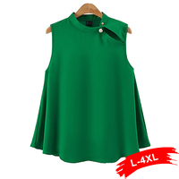 Plus Size Pearl Button Sleeveless Casual Blouse 4Xl 3Xl Green Hollow Out Tops Shirts Streetwear Summer