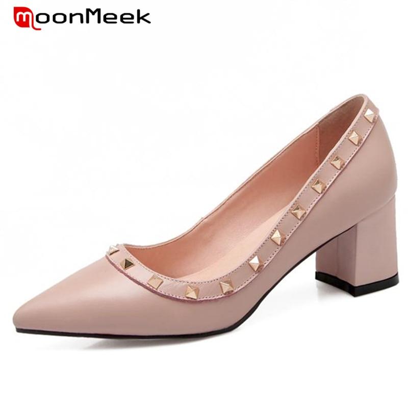 ФОТО MoonMeek Rivets solid shallow single shoes women pumps cowhide leather high heels shoes wedding party hot sale elegant