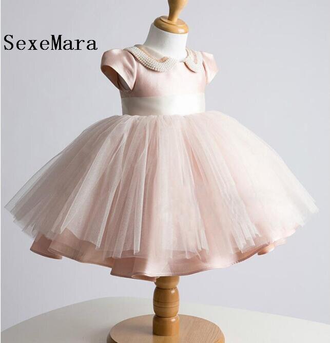 Photo réelle 2019 bébé filles robes roses robe de baptême pour fille infantile 1 an robe d'anniversaire pour bébé fille robe de baptême