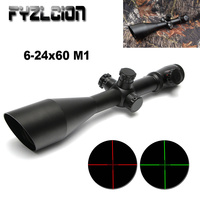 M1 6 24x60 AO tactical outdoor hunting Scopes red and green optical rifle sight Mildot side wheel gun sight