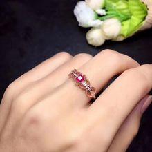 LANZYO 925 пробы кольцо из природного рубина модное Открытое кольцо подарки могут быть выполнены по индивидуальному заказу j030306agh