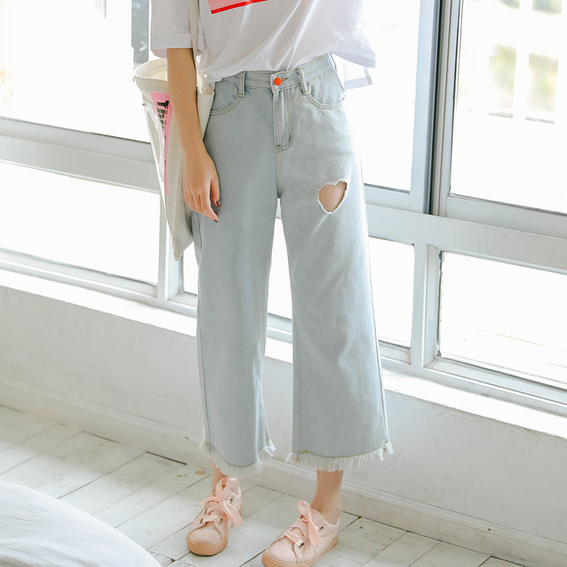 2018 New Women Summer Denim Cotton   Jeans   Harajuku Fashion Ankle Length   Jeans   Heart Hollow Out Cute   Jeans   Female #5012