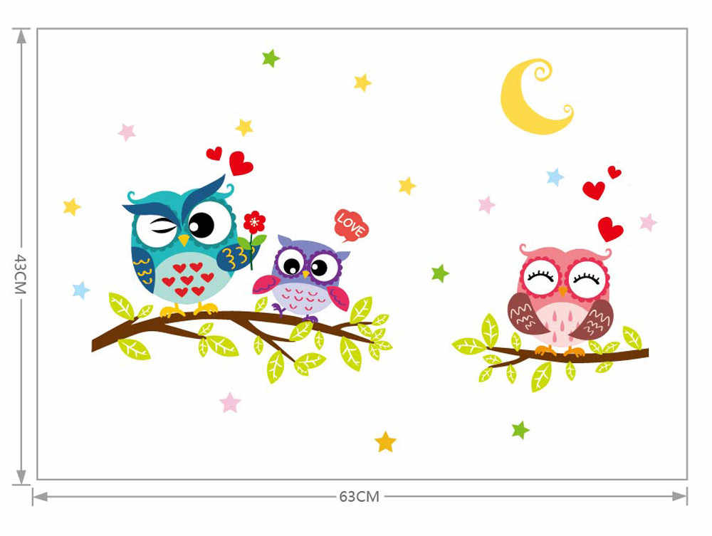 Hot Selling Creative Removable Waterproof Cartoon Animal Owl Wall Sticker For Kids Rooms Home Decor Etiqueta de la pared