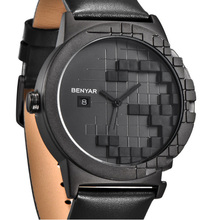 Benyar luxury brand waterproof leather strap creative quartz watch automatic date casual fashion business men's watch