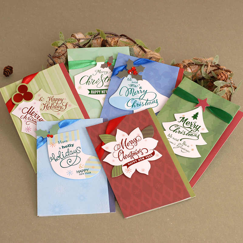 Christmas Card Images Handmade.Vintage Merry Chirstmas Cards Gift Ribbon Ornament Handmade Christmas Cards