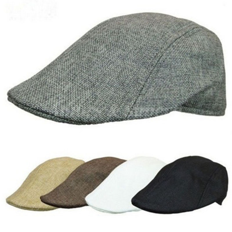 New Unisex Womens Mens Newsboy Duckbill Driving Cap Flat Cabbie Linen Beret  Hat Boina Casual Fashion Style 2c67c1385ed