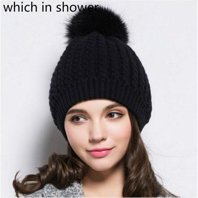 Black White Lady Pompom Winter Hat For Women Warm Crochet Knit Beanie  Skullies With Pom Pom Ball Top Outdoor Ski Pompon Bonnet 645cb3d3dba