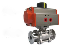 1 TriClamp Pneumatic Ball Valve, Stainless Steel SS316 Encapsulated