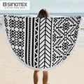 1 Pcs/lot 100% coton rond serviette de plage pour adulte 150*150 cm géométrique imprimé serviette de bain gland décor éponge serviette Style été