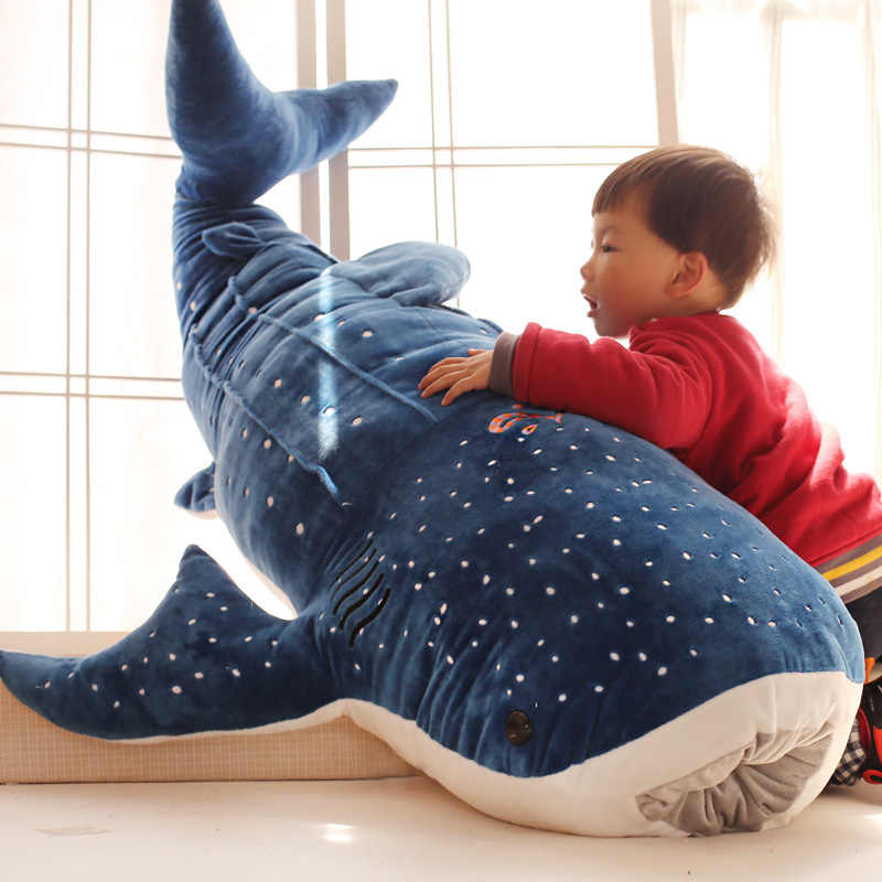50/100cm w nowym stylu Blue shark pluszowe zabawki gruba ryba lalka materiałowa wieloryb pluszowe zwierzaki lalka prezent urodzinowy dla dzieci